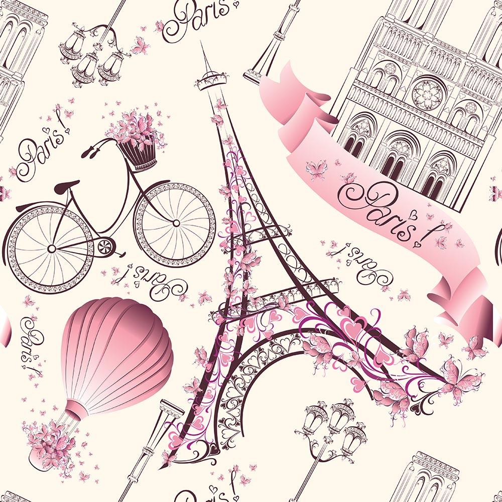 Papel de Parede Casual Paris Rosa