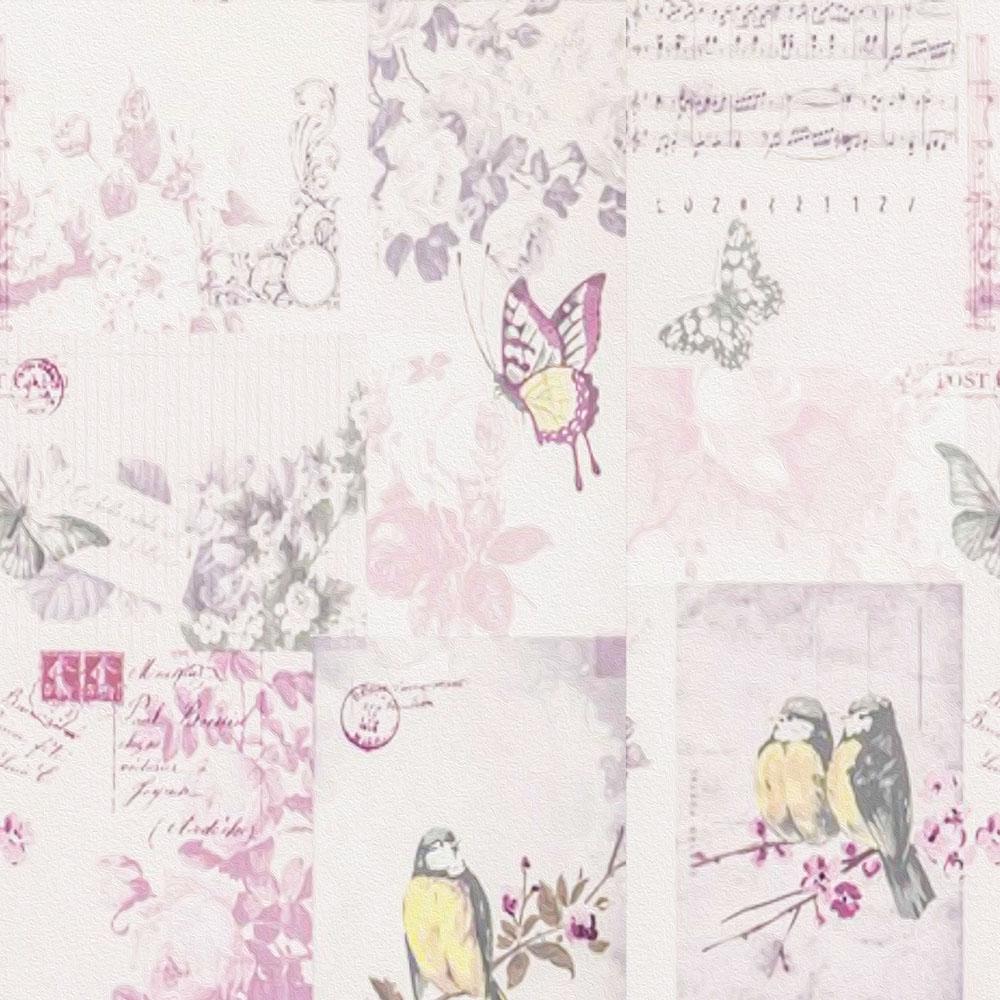 Papel de Parede Casual Passarinhos Flores e Cartas
