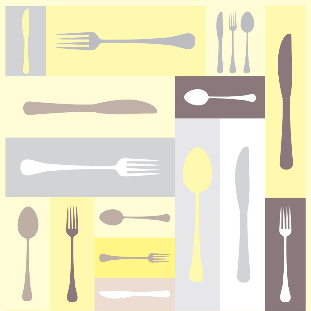 Papel de Parede Casual Talheres Cozinha Amarelo