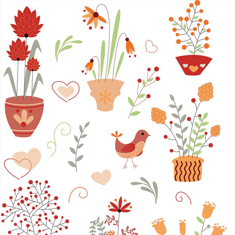 Papel de Parede Casual Vasos de Plantas e Pássaros