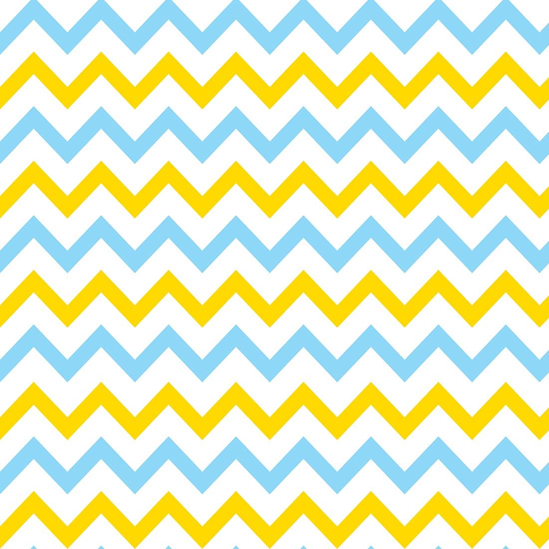 Papel de Parede Chevron Azul Piscina e Amarelo