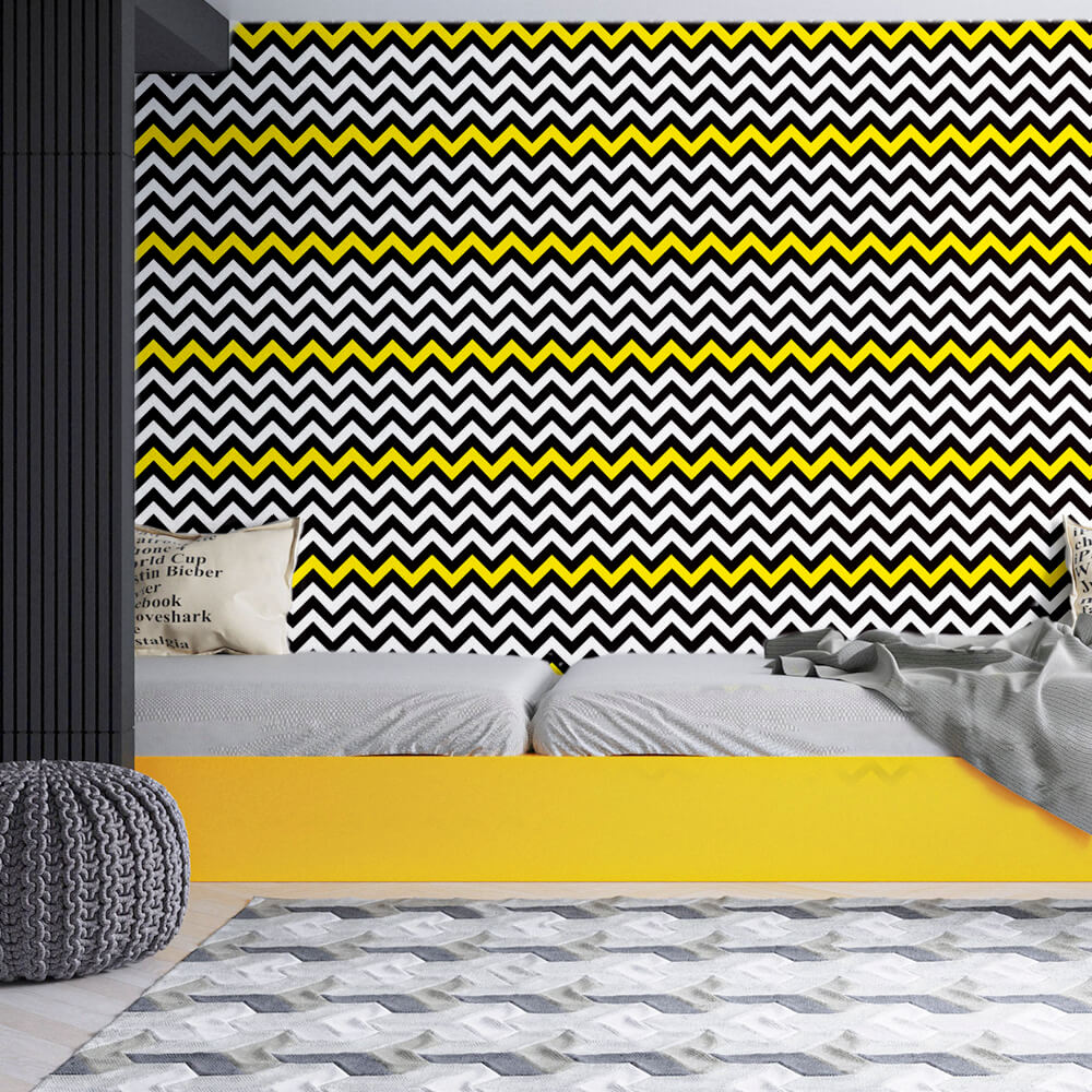 Papel de Parede Chevron Branco, Preto e Amarelo