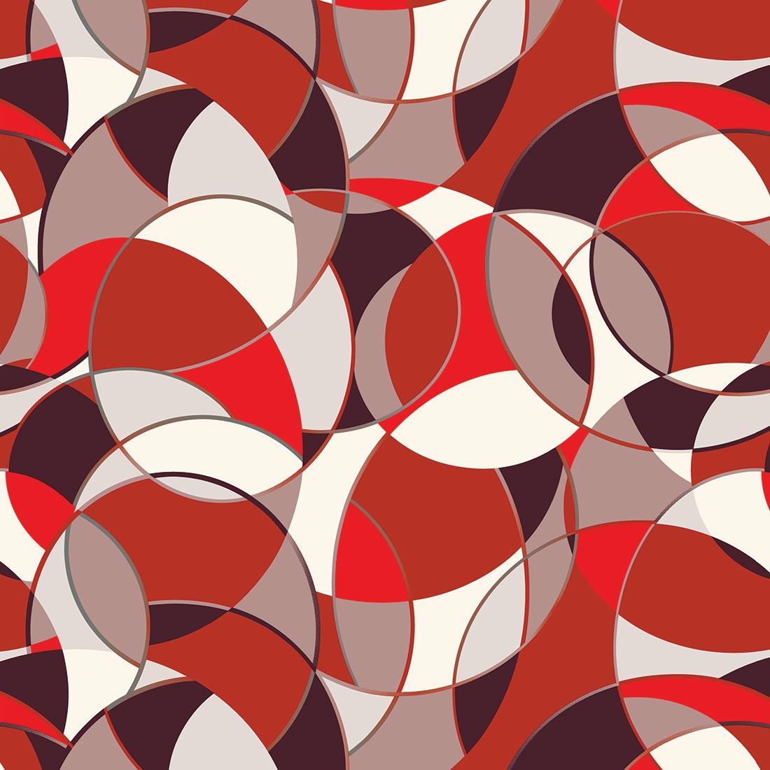 Papel de Parede Círculos e Semicírculos Tons de Vermelho, Marrom, Cinza e Branco