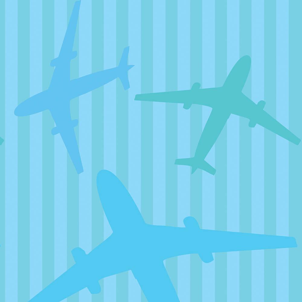 Papel de Parede Clássico Avião no Fundo Azul