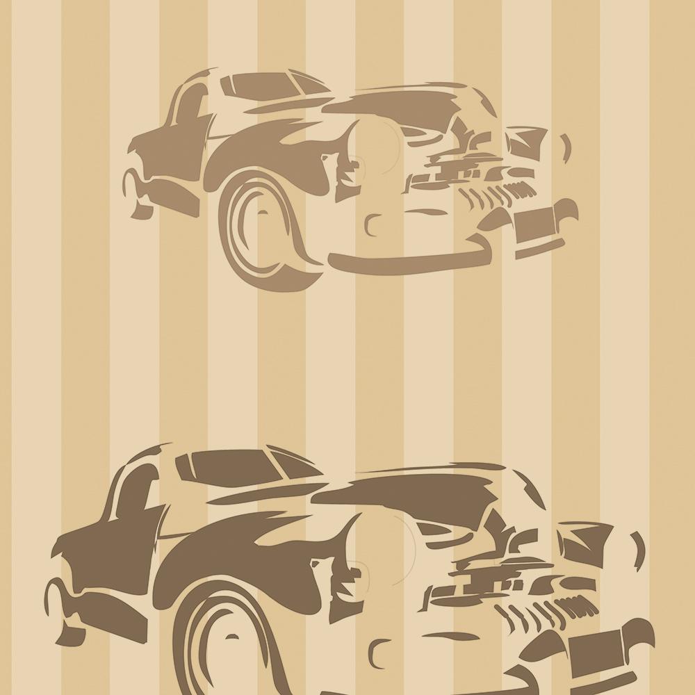 Papel de Parede Clássico Carros e Listras