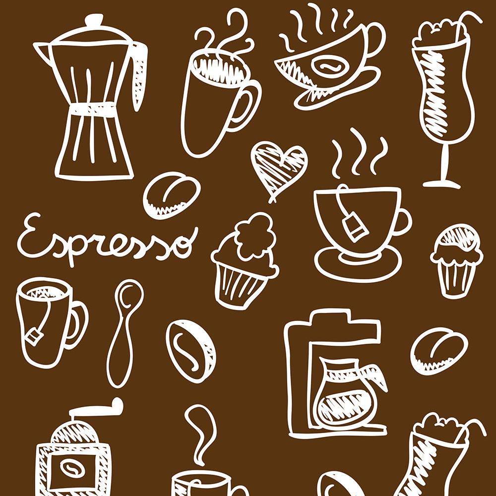 Papel de Parede Clássico Coffee Fundo Marrom