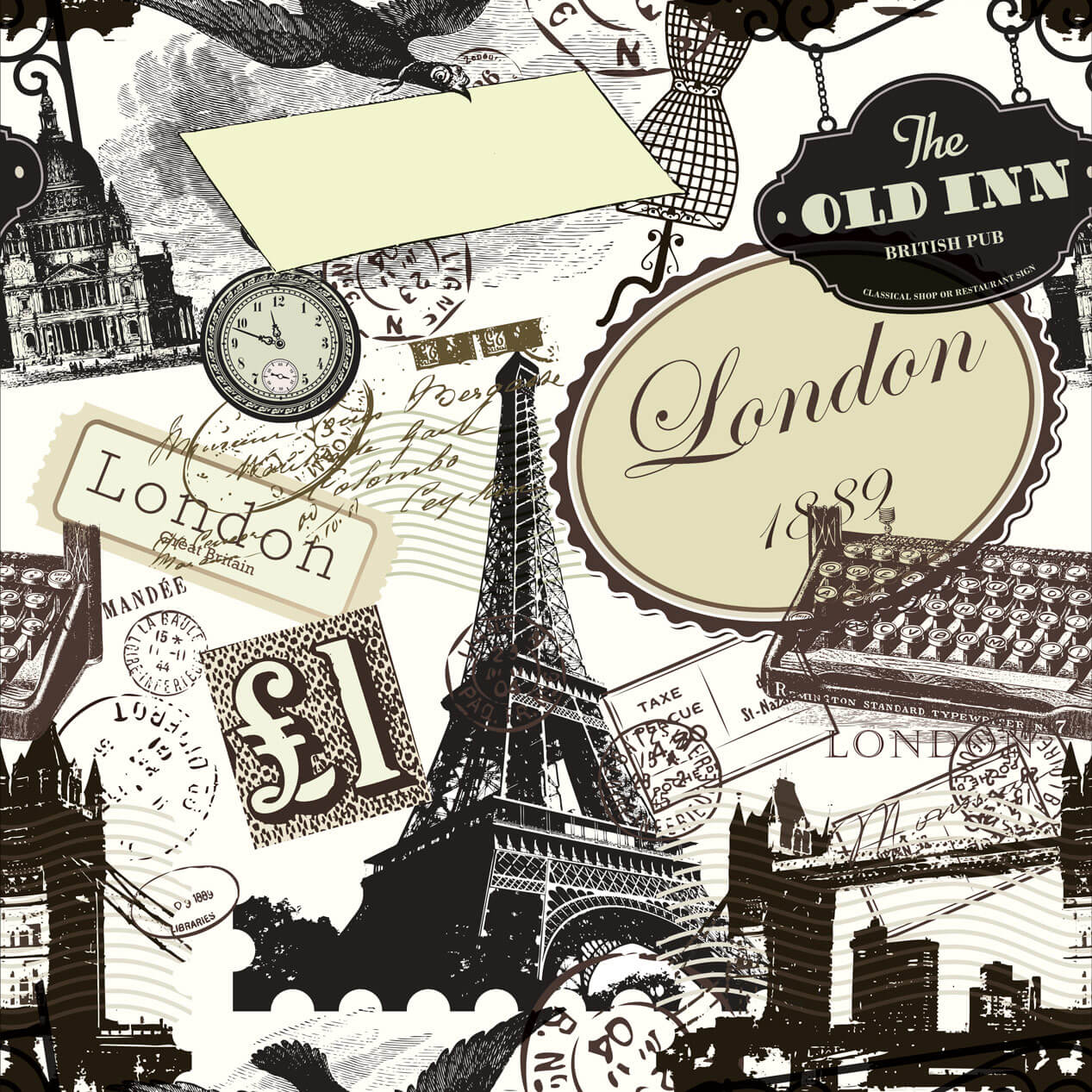 Papel de Parede Clássico Londres Vintage