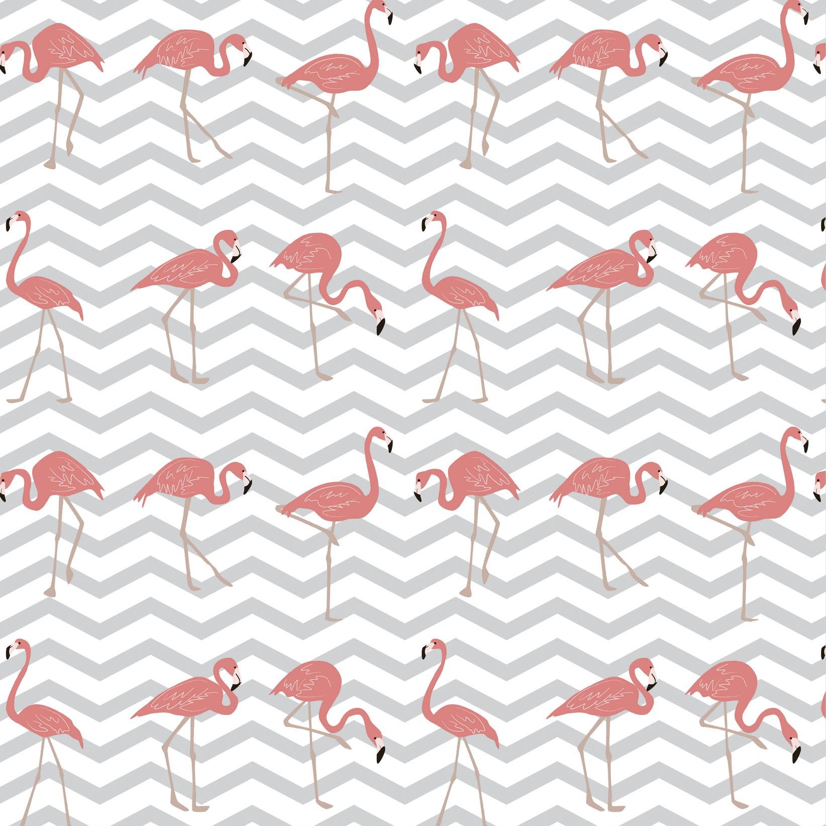 Papel de Parede Flamingo Rosa Fundo Chevron