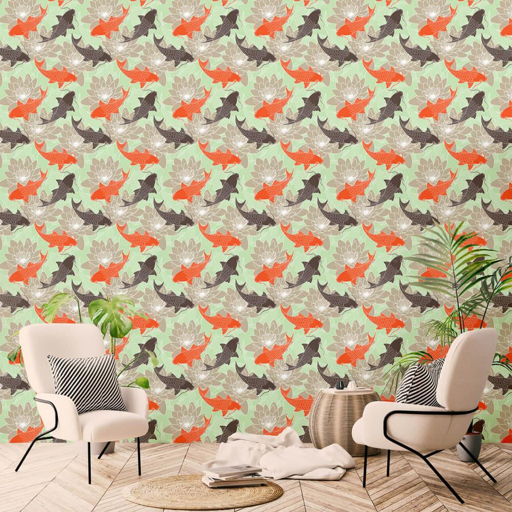 Papel de Parede Floral Aquário Carpas