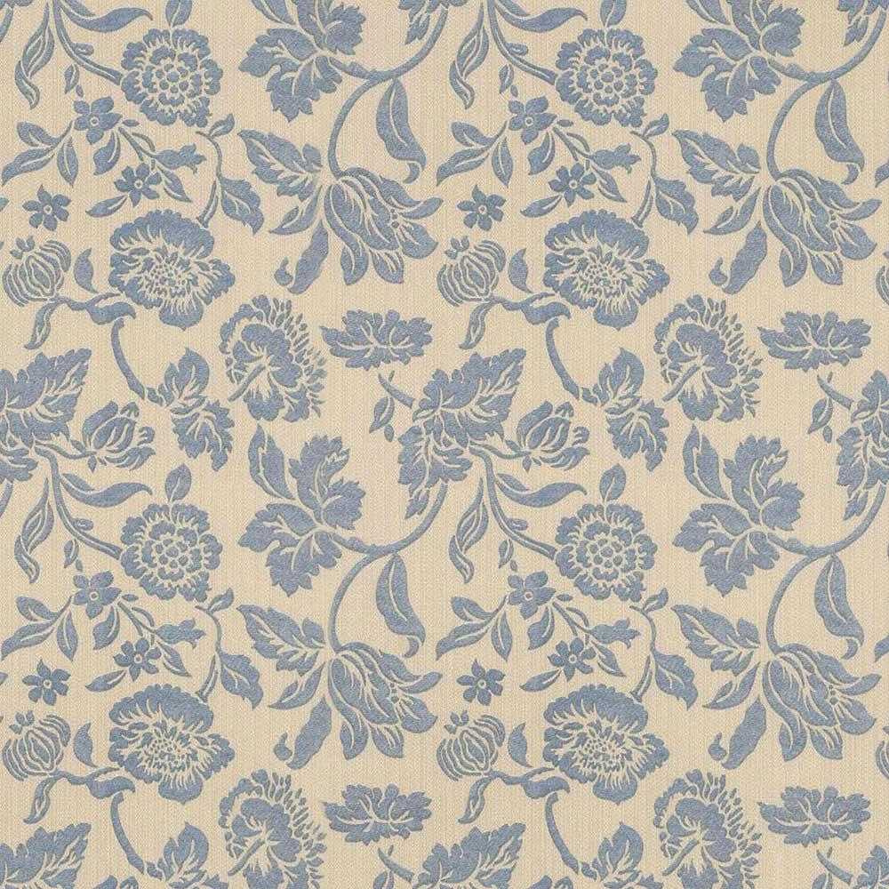 Papel de Parede Floral Azul Bege