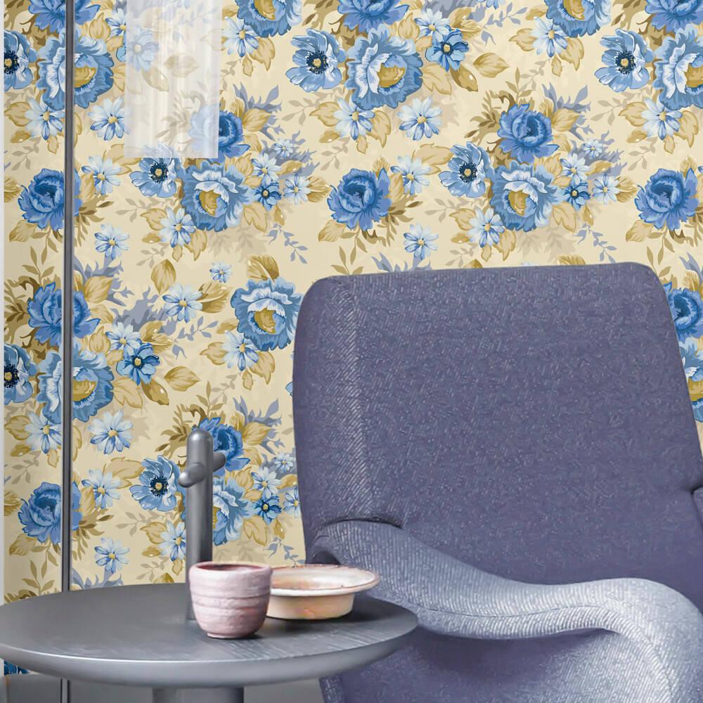 Papel de Parede Floral Azul e Bege