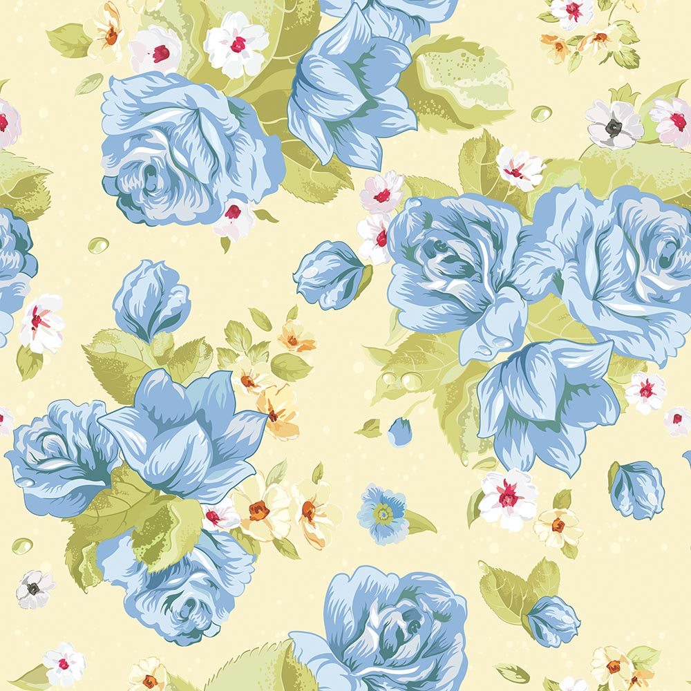 Papel de Parede Floral Azul Fundo Amarelo