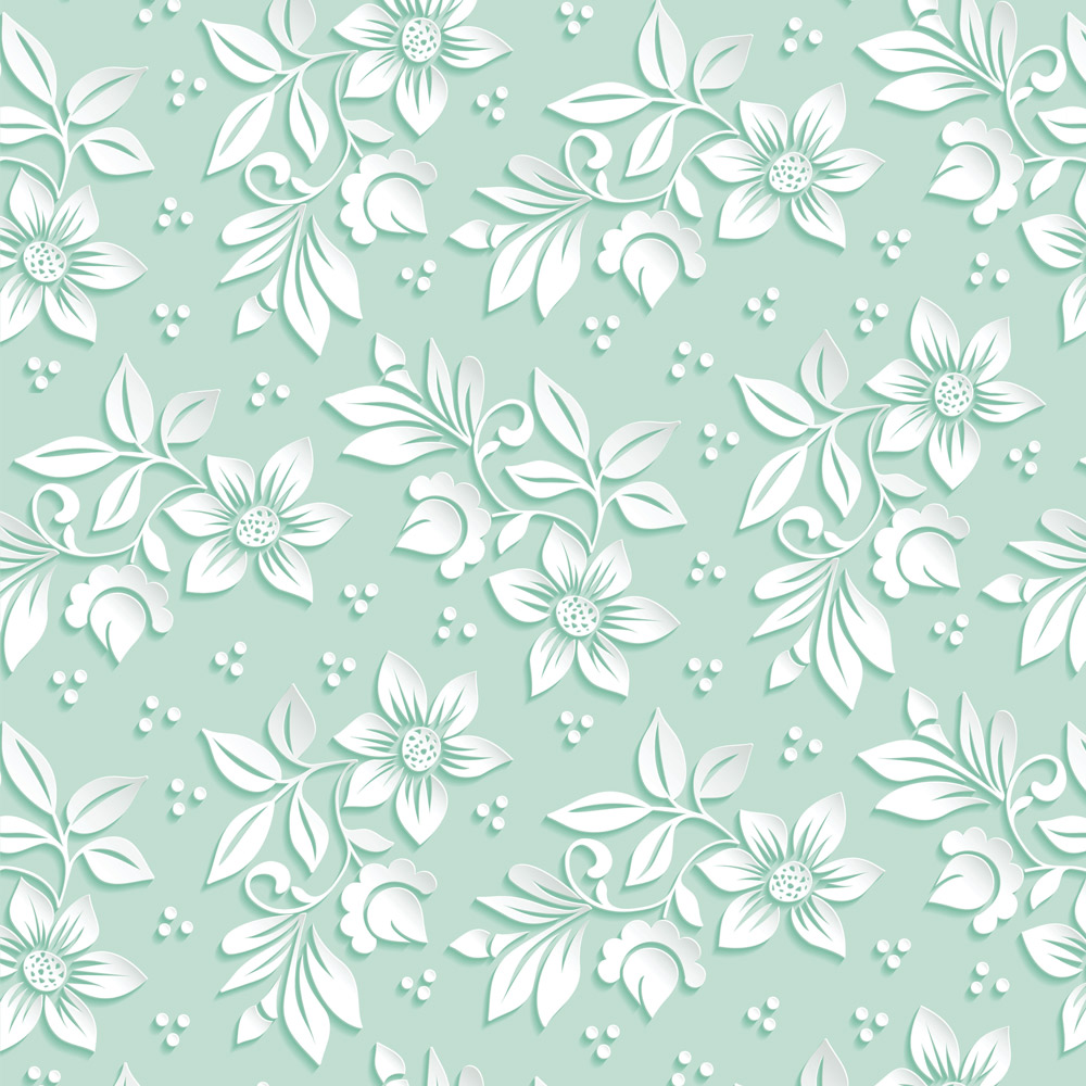 Papel de Parede Floral Branco e Fundo Verde