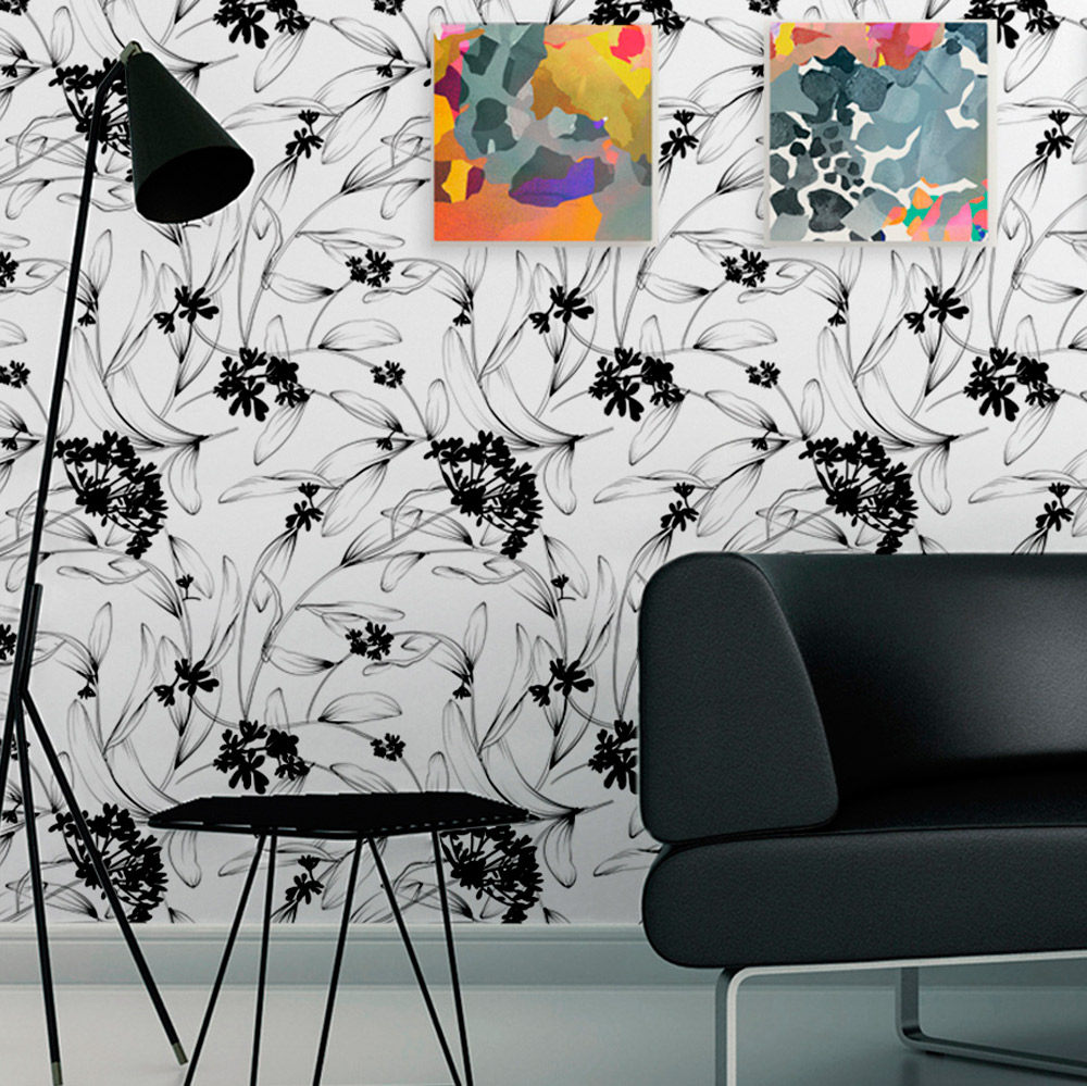 Papel de Parede Floral Branco e Preto