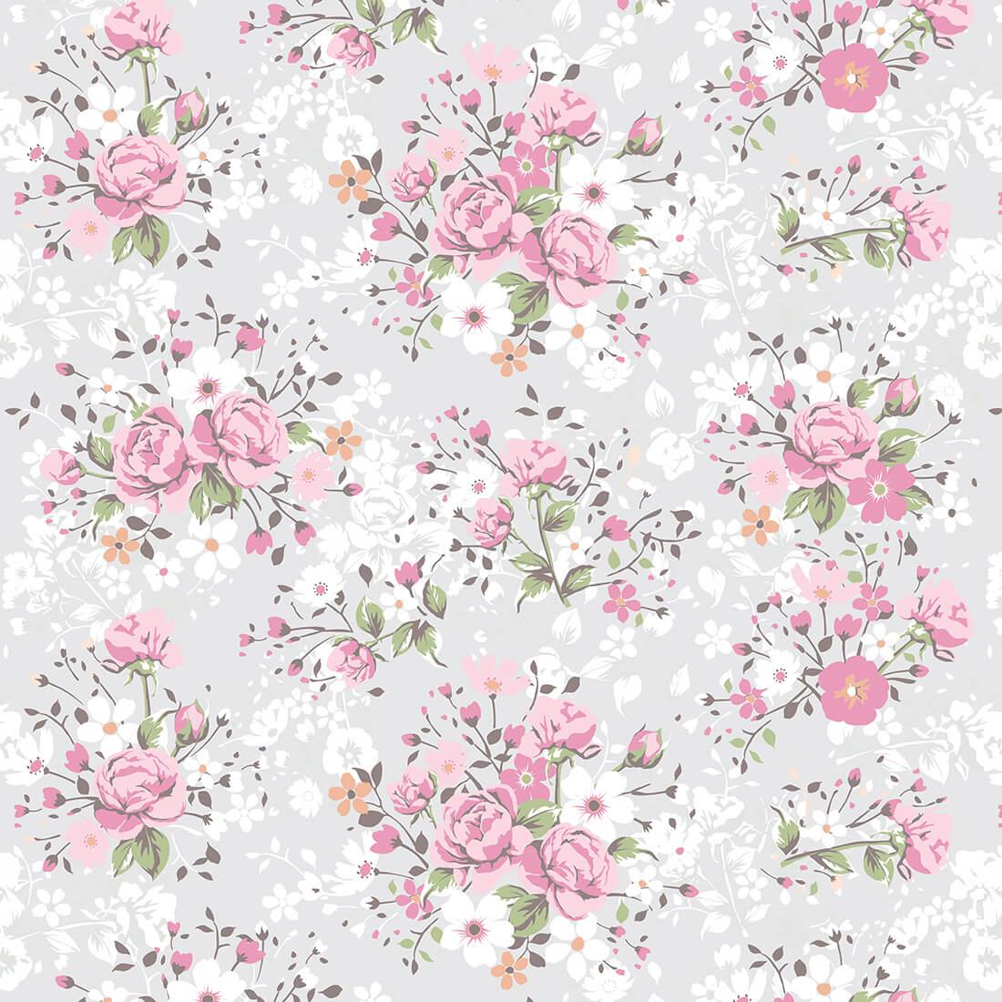 Papel de Parede Floral Buque De Rosas Fundo Cinza