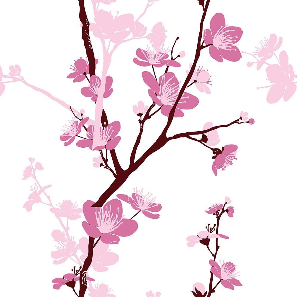 Papel de Parede Floral Cerejeira Rosa
