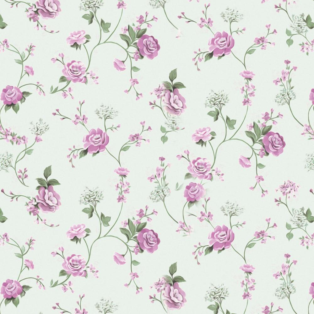 Papel de Parede Floral Chuva de Rosas Fundo Verde