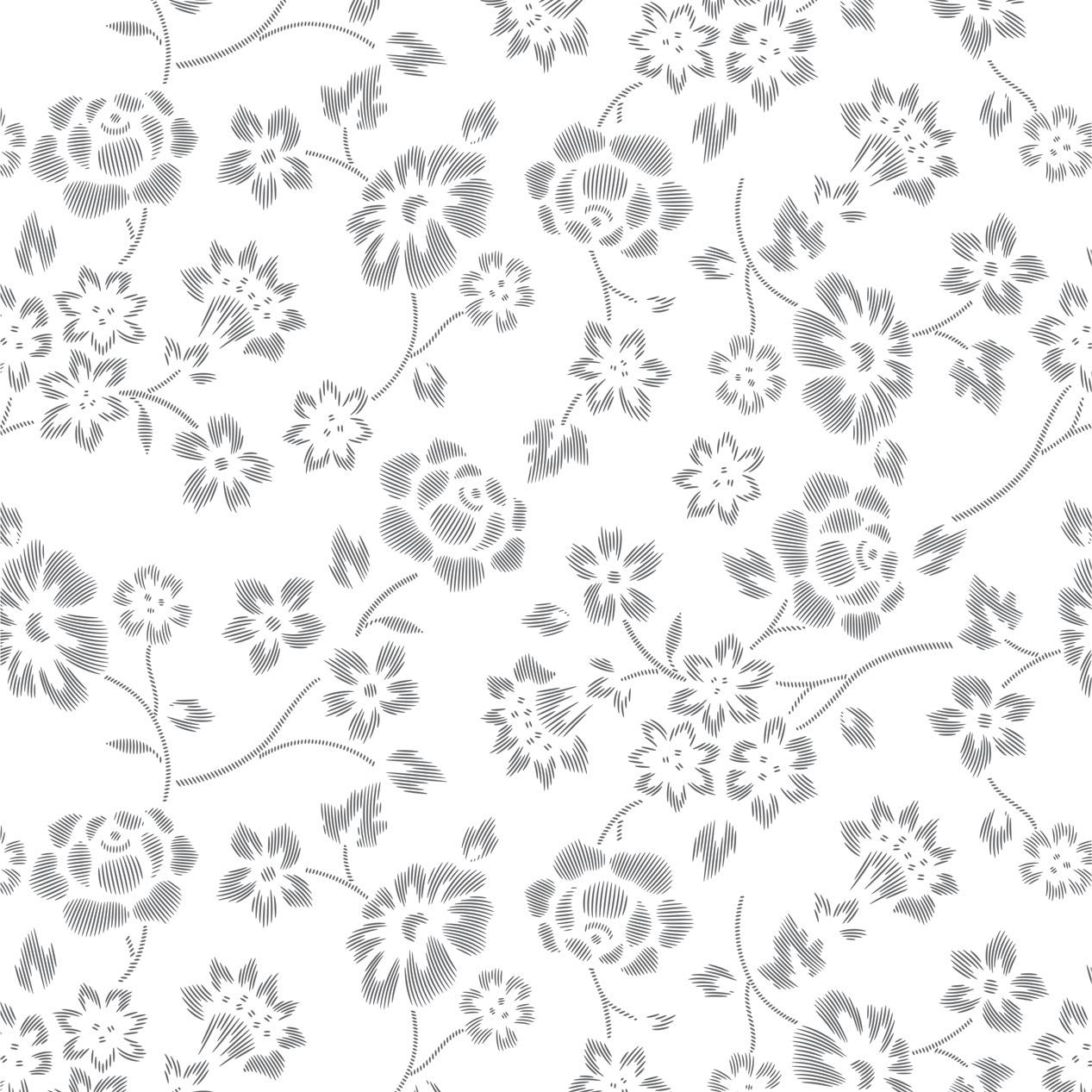 Papel de Parede Floral Cinza Desenho Riscas
