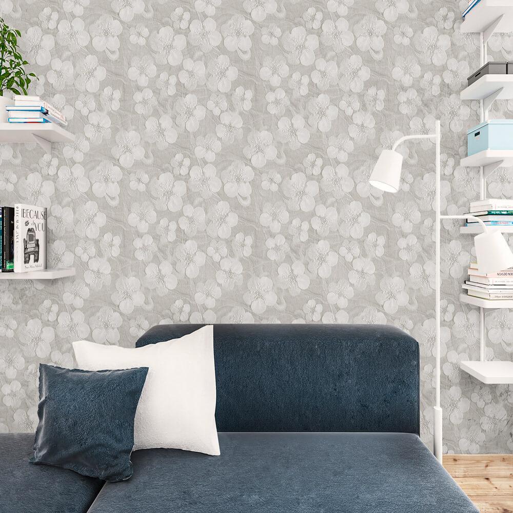 Papel de Parede Floral Cinza Efeito 3D