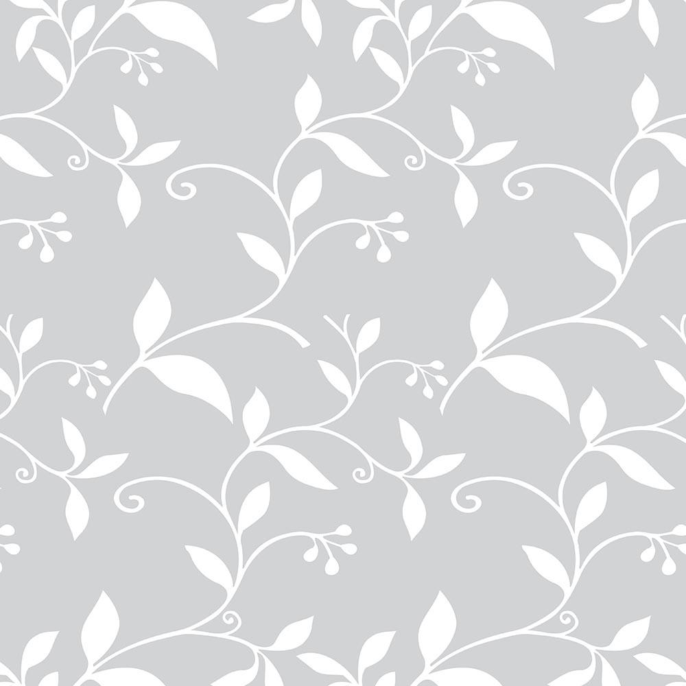 Papel de Parede Floral Cinza Folhagens Branca