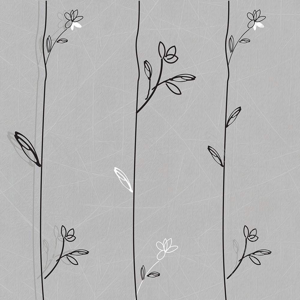 Papel de Parede Floral Cinza Ramos