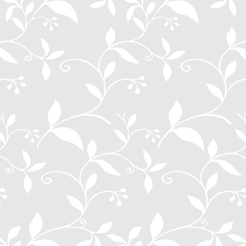 Papel de Parede Floral Cinza Ramos Brancos