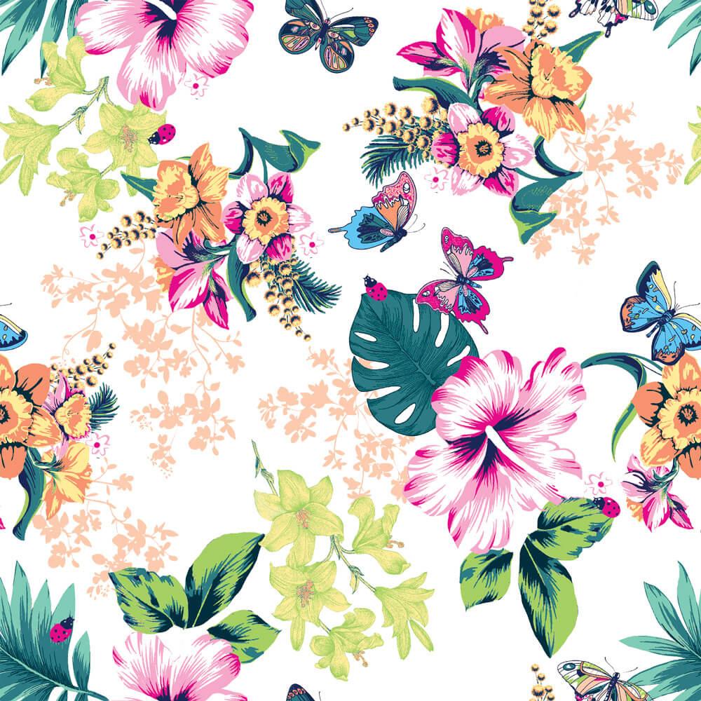 Papel de Parede Floral Colorido Borboletas no Jardim