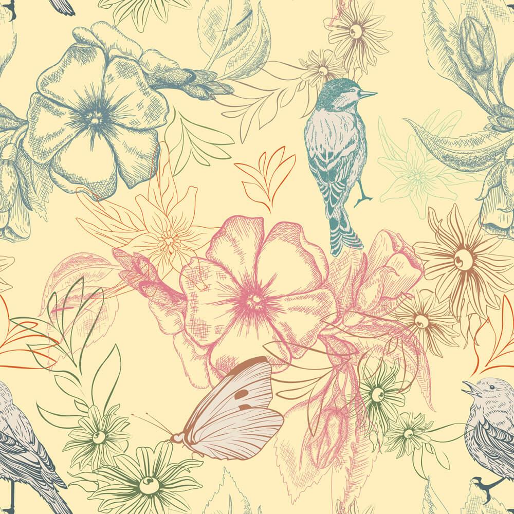 Papel de Parede Floral Colorido Com Pássaros