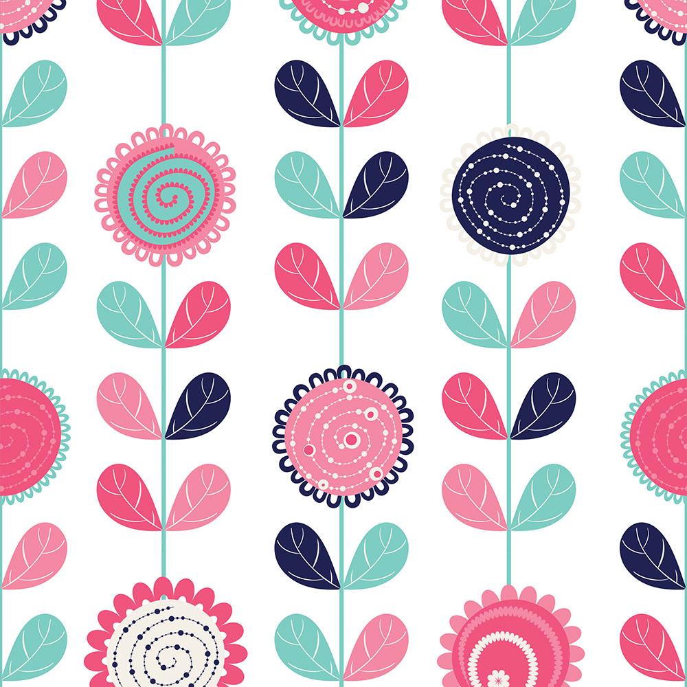 Papel de Parede Floral Colorido em Linhas