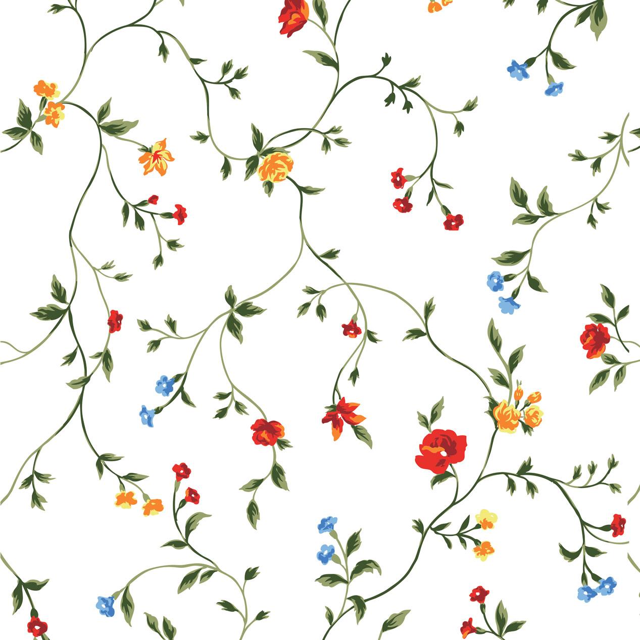 Papel de Parede Floral Colorido Fundo Branco