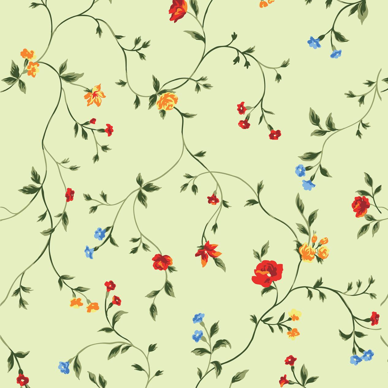 Papel de Parede Floral Colorido Fundo Verde