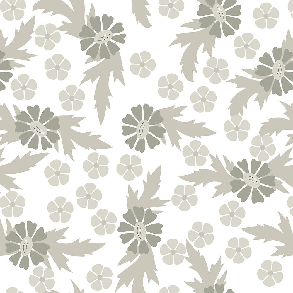 Papel de Parede Floral Crisântemo Cinza