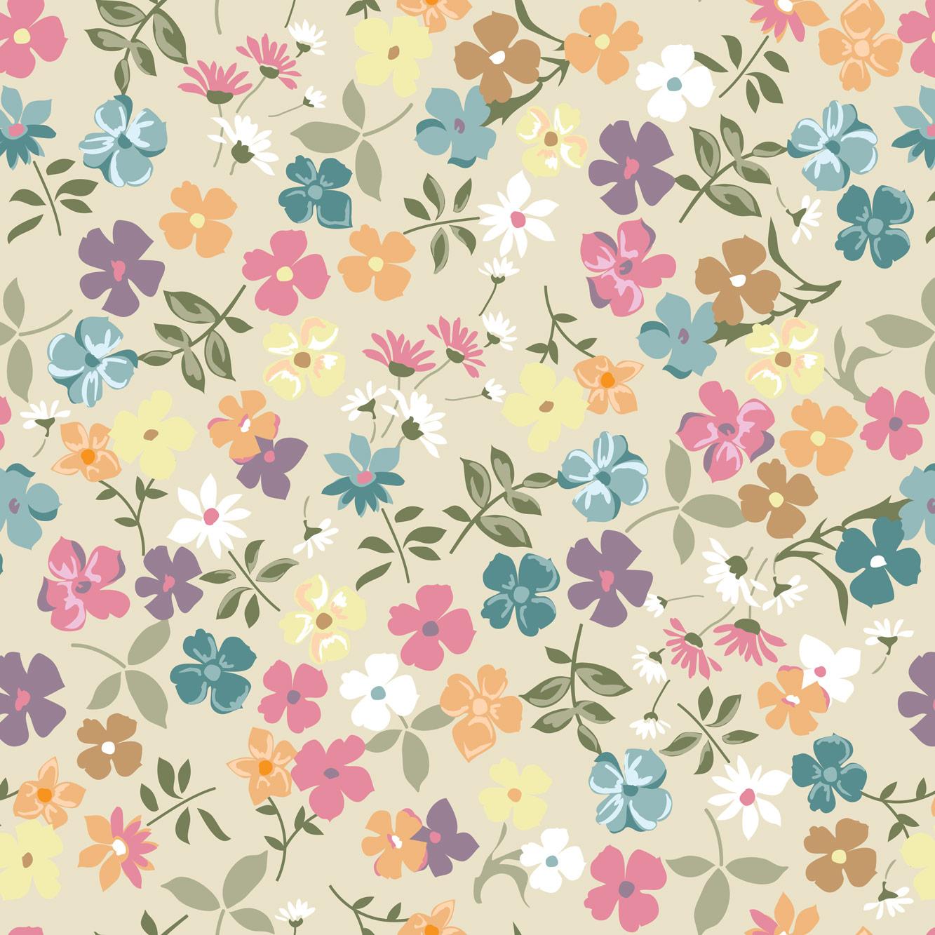 Papel de Parede Floral Desenhado Colorido