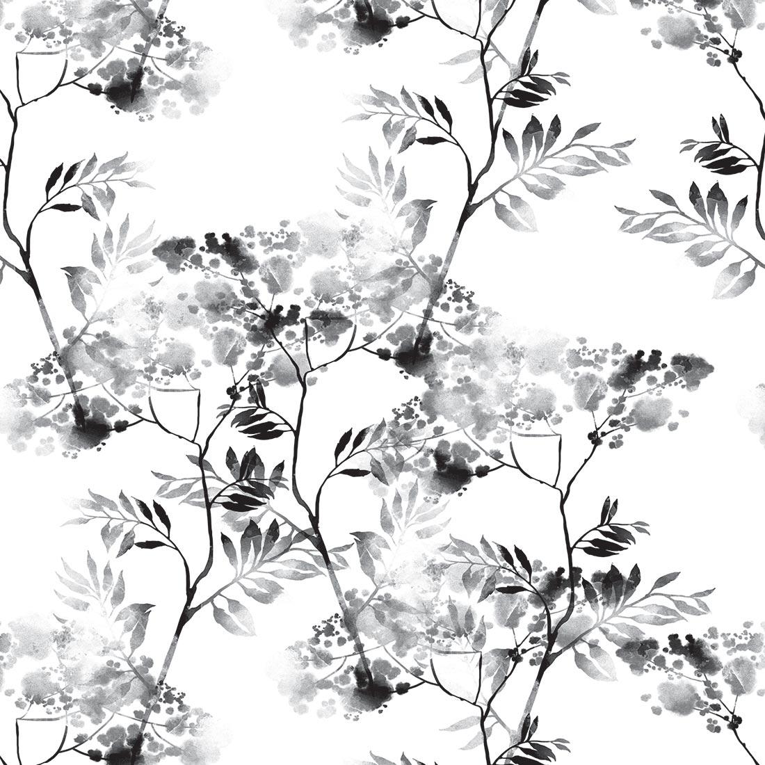 Papel de Parede Floral Desenhado Preto