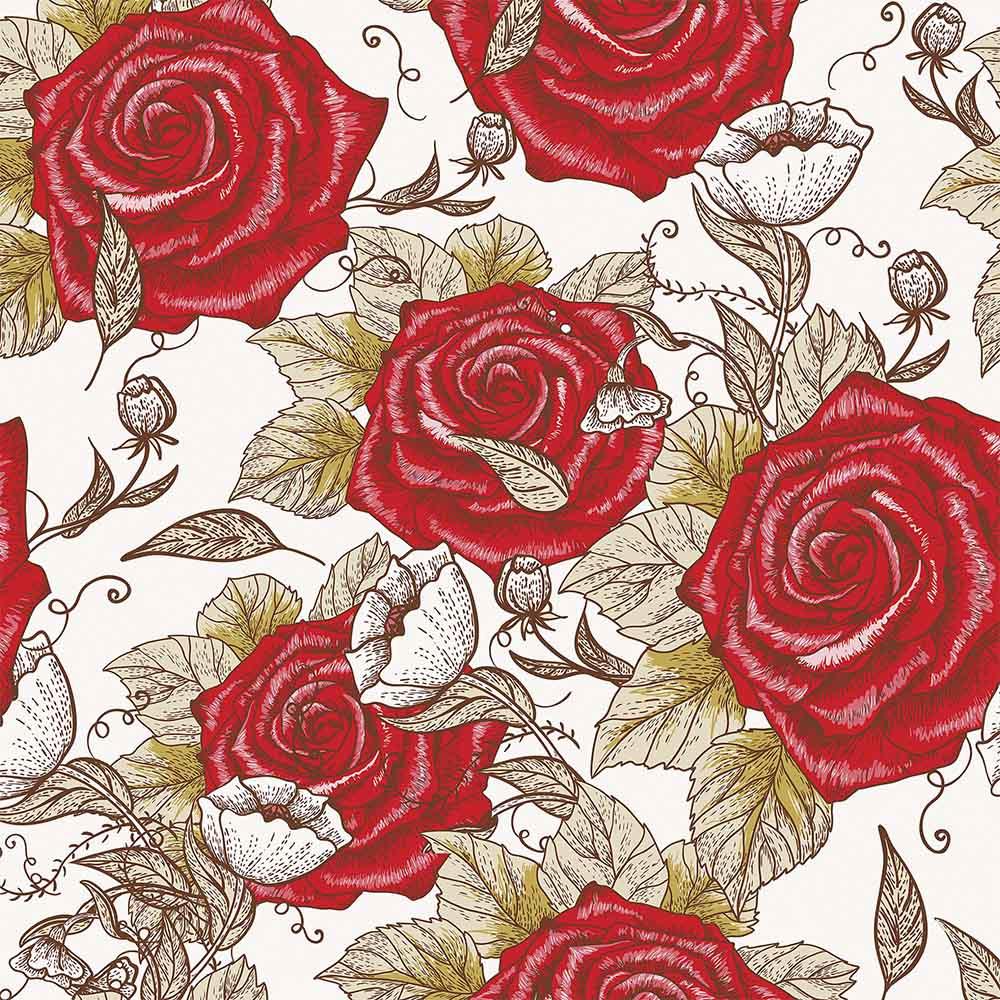 Papel de Parede Floral Desenho Vermelho