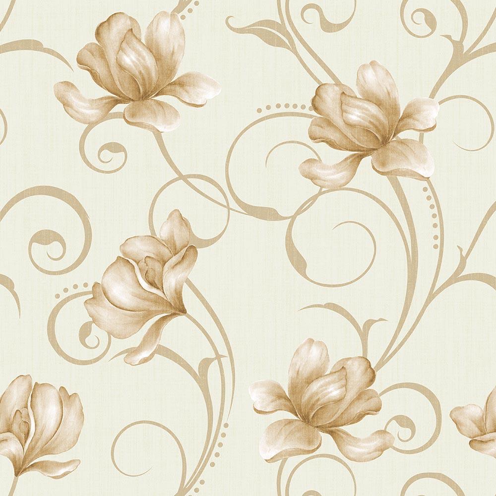 Papel de Parede Floral Detalhe Bege