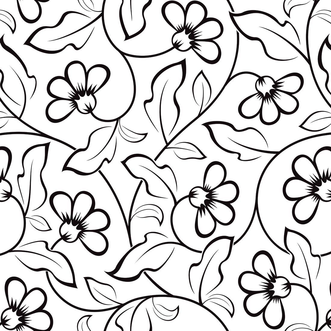 Papel de Parede Floral em Desenho Preta