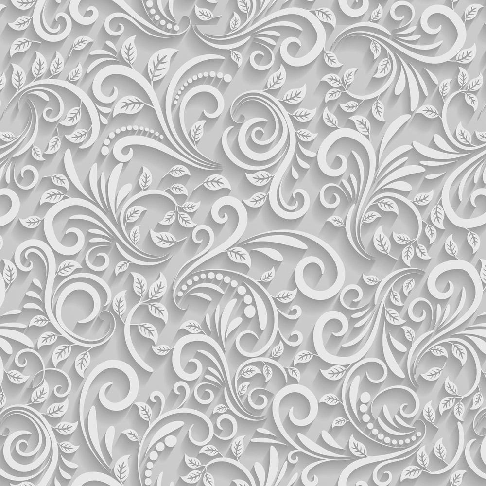 Papel de Parede Floral Espiral Cinza