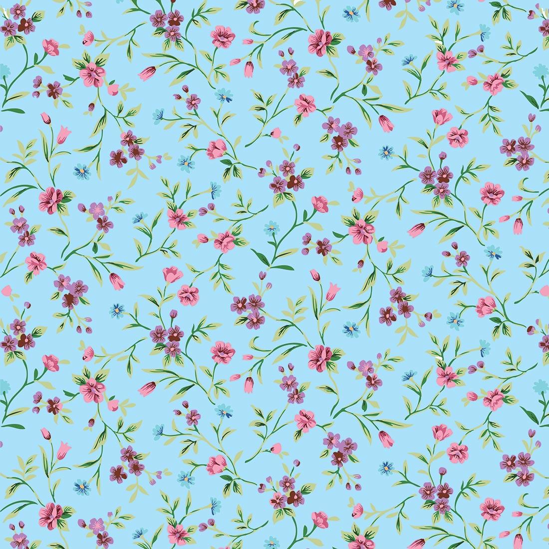 Papel de Parede Floral Flores no Fundo Azul