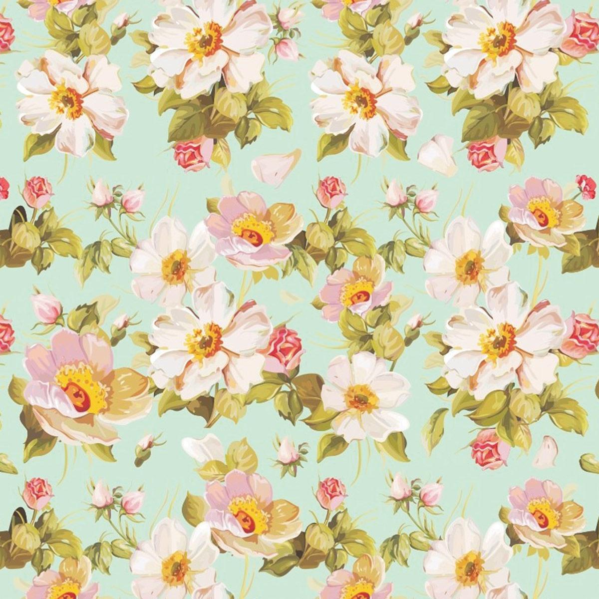 Papel de Parede Floral Flores Pintadas Brancas e Rosas