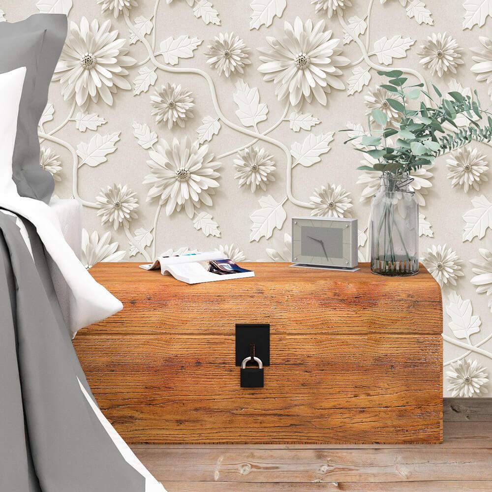 Papel de Parede Floral Flores Tons de Bege e Palha Efeito 3D