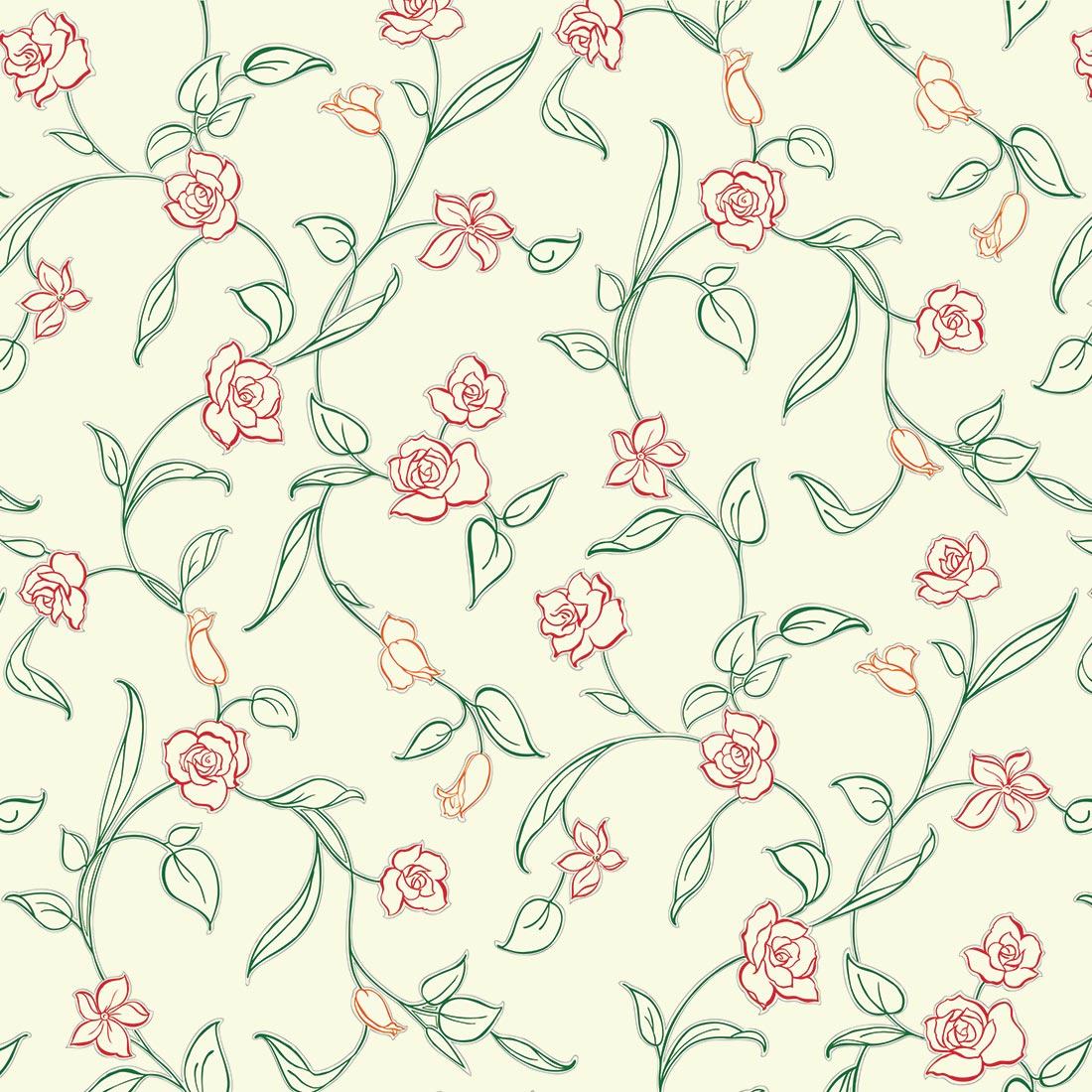 Papel de Parede Floral Flores Vermelhas delicadas