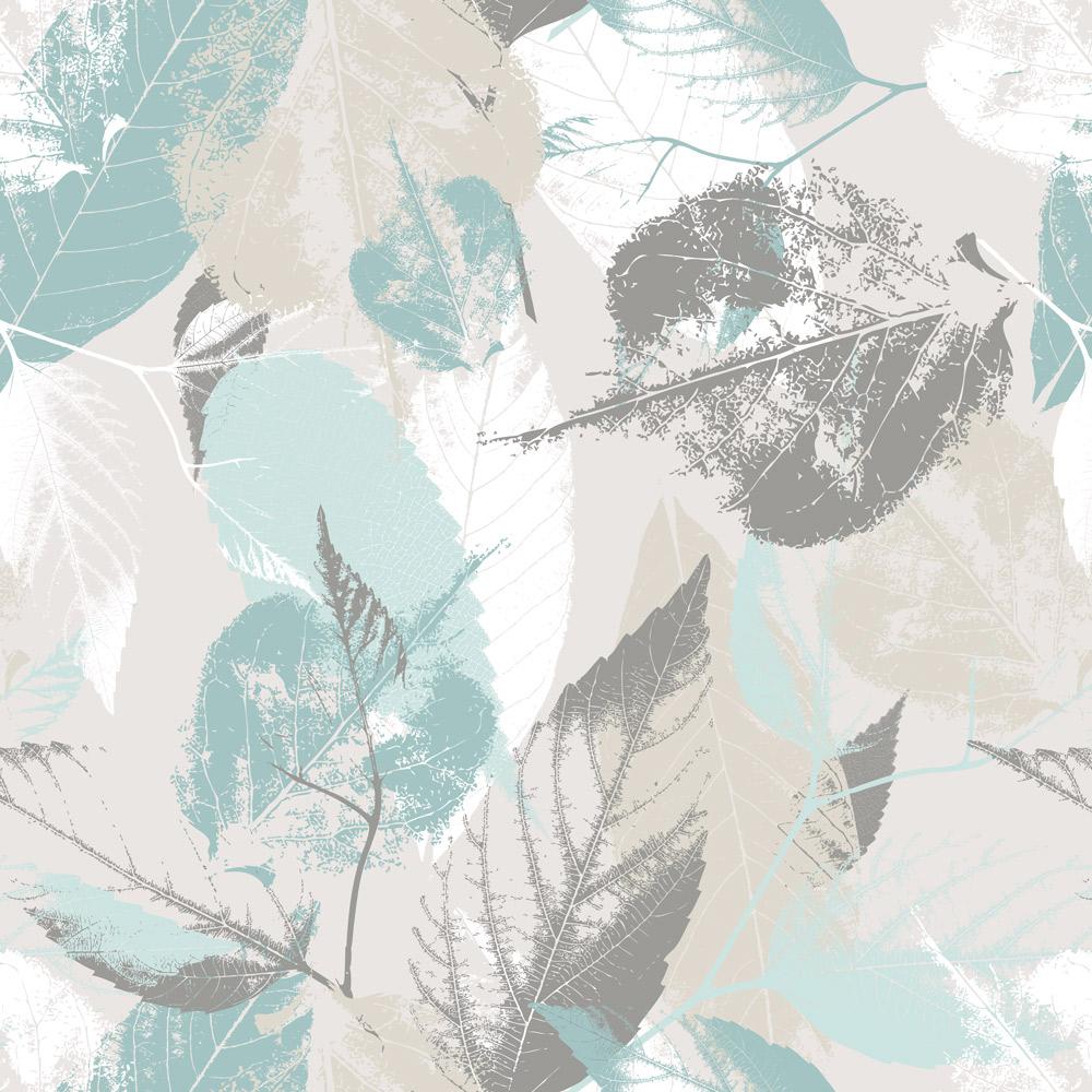 Papel de Parede Floral Folhagem Azul e Creme