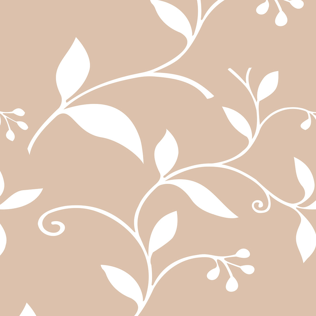 Papel de Parede Floral Folhagem Branco Fundo Nude