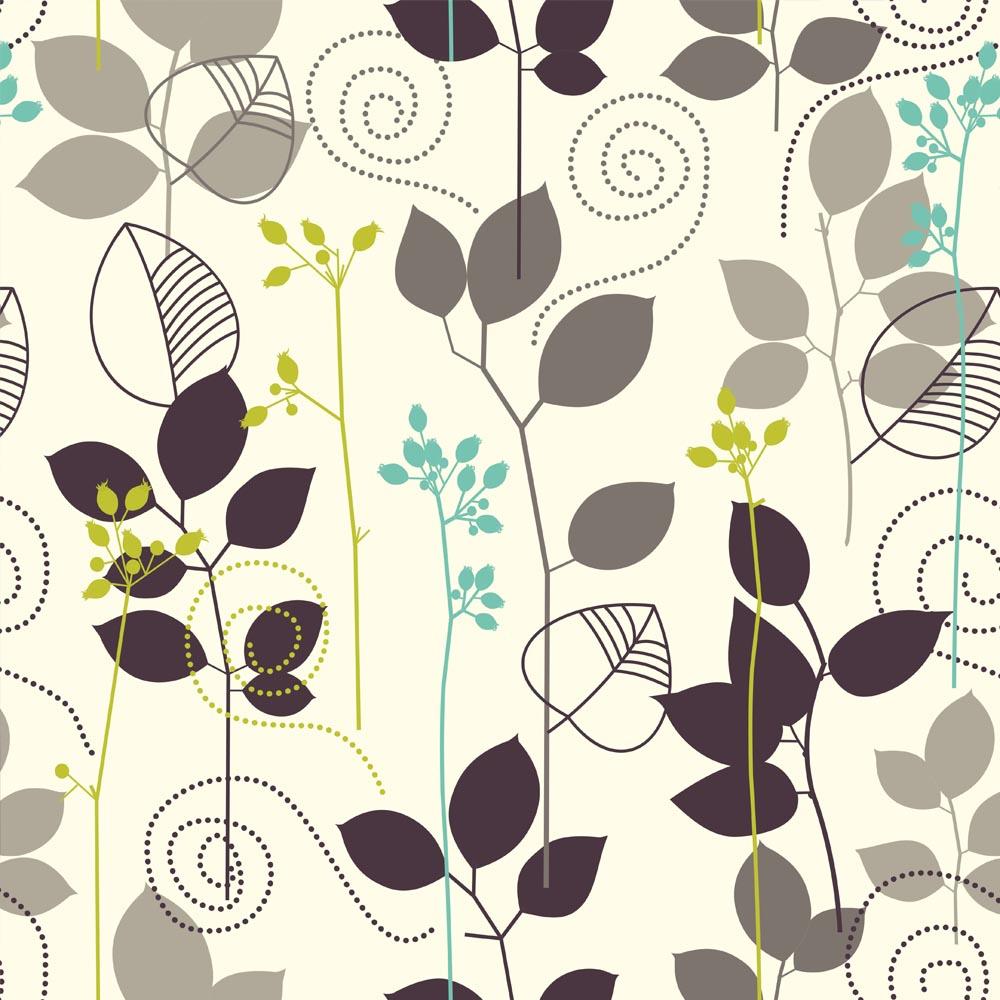 Papel de Parede Floral Folhagem em Desenho No Fundo Bege