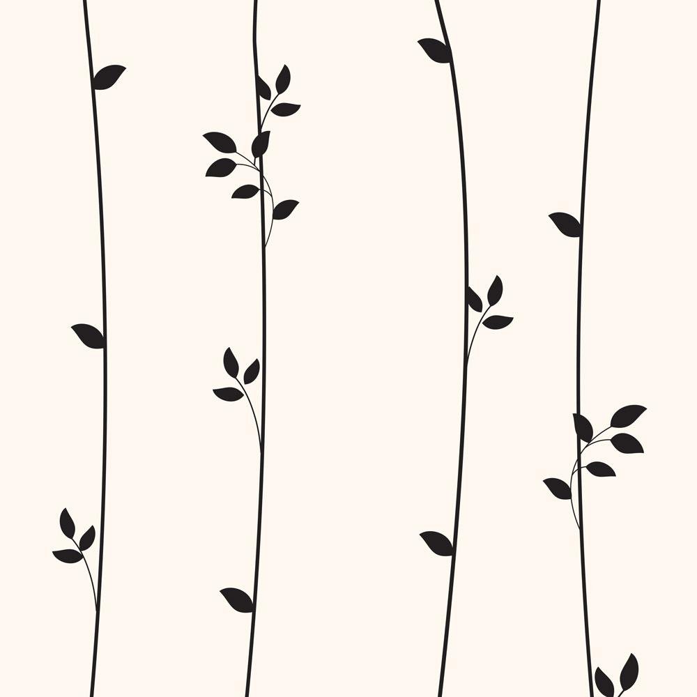 Papel de Parede Floral Folhagens Preta