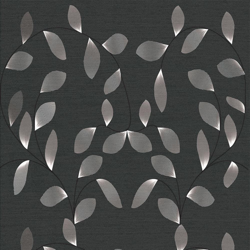 Papel de Parede Floral Folhagens Preto