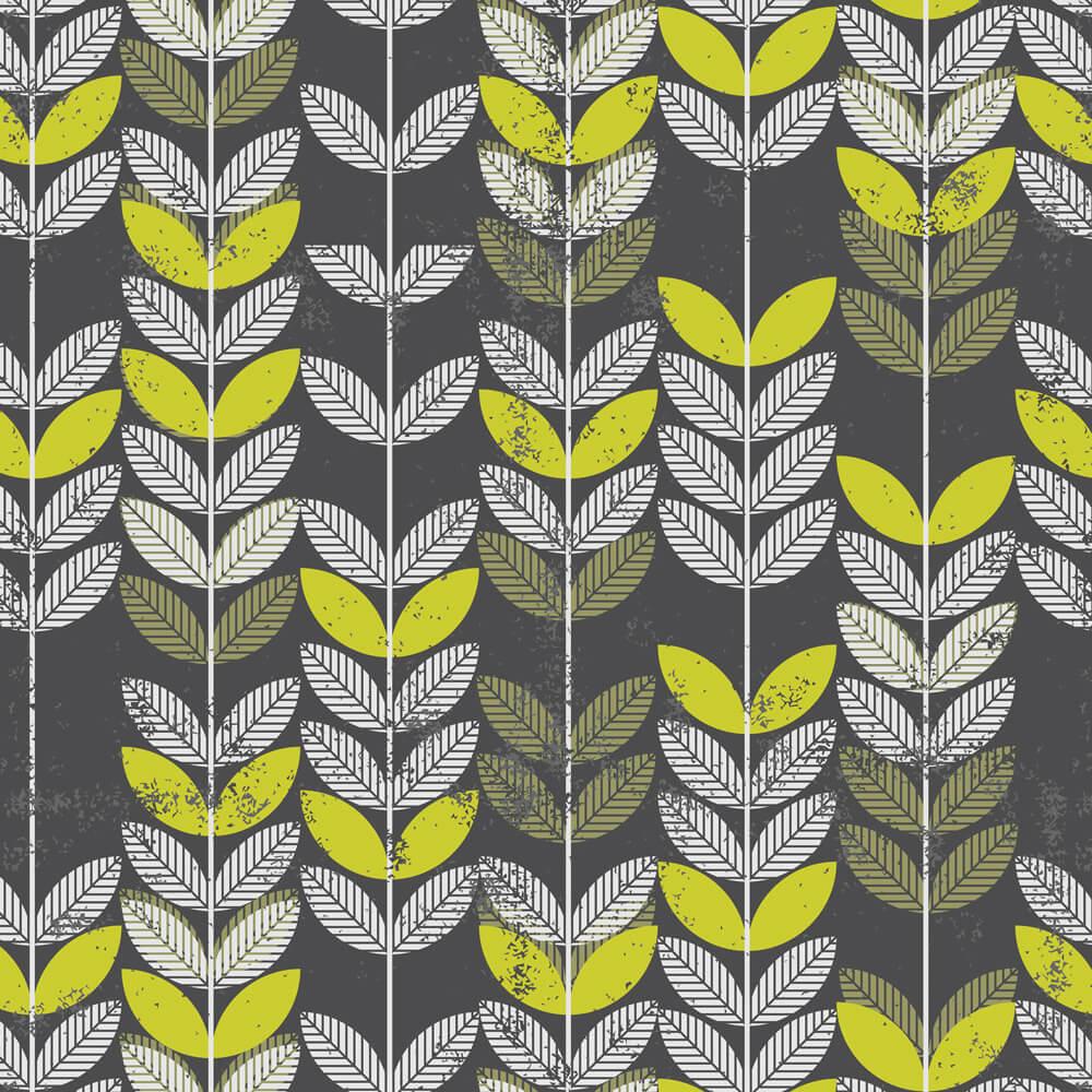 Papel de Parede Floral Folhas Cinza e Verde