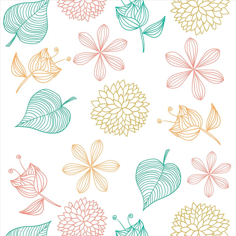 Papel de Parede Floral Folhas e Flores Coloridas
