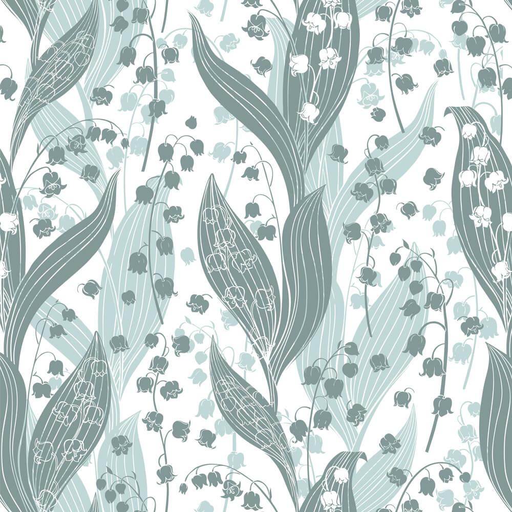 Papel de Parede Floral Folhas e Flores Tons de Verde